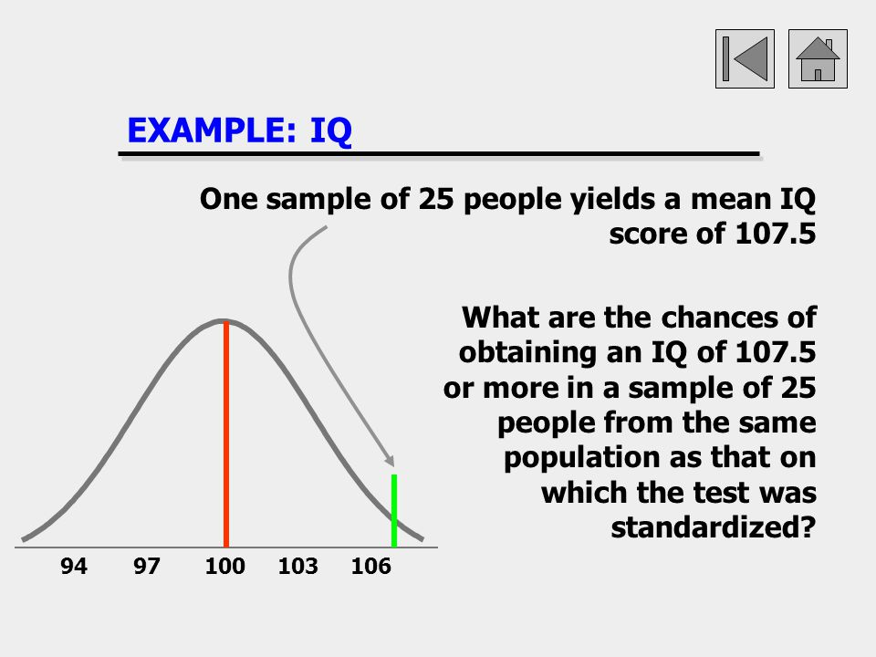 EXAMPLE: IQ One sample of 25 people yields a mean IQ score of 107.5