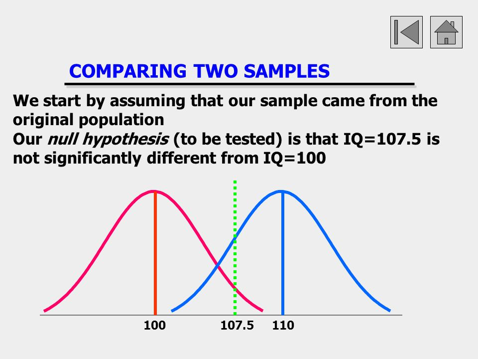 COMPARING TWO SAMPLES We start by assuming that our sample came from the original population.