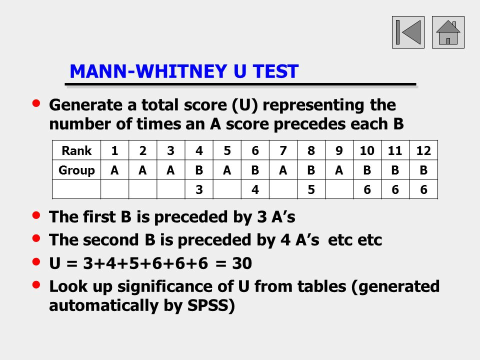 MANN-WHITNEY U TEST Generate a total score (U) representing the number of times an A score precedes each B.