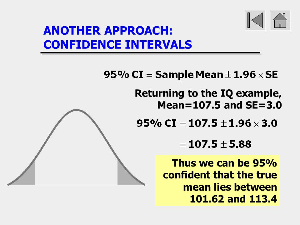 ANOTHER APPROACH: CONFIDENCE INTERVALS