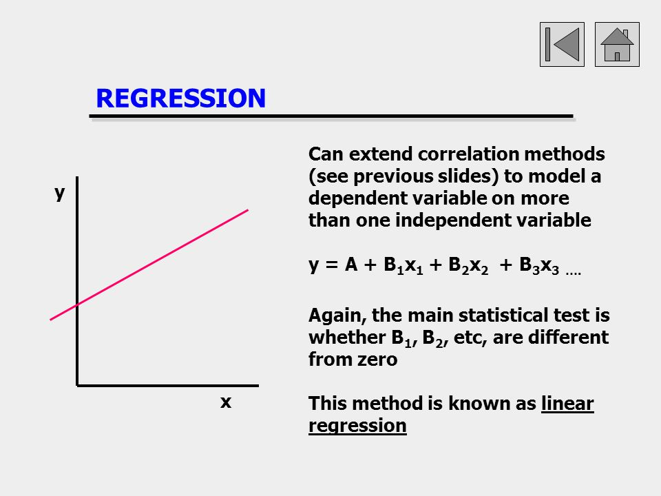 REGRESSION Can extend correlation methods (see previous slides) to model a dependent variable on more than one independent variable.