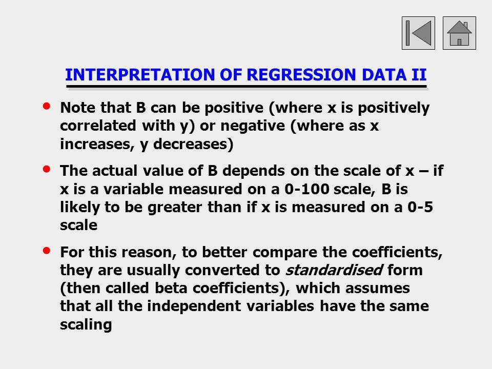 INTERPRETATION OF REGRESSION DATA II