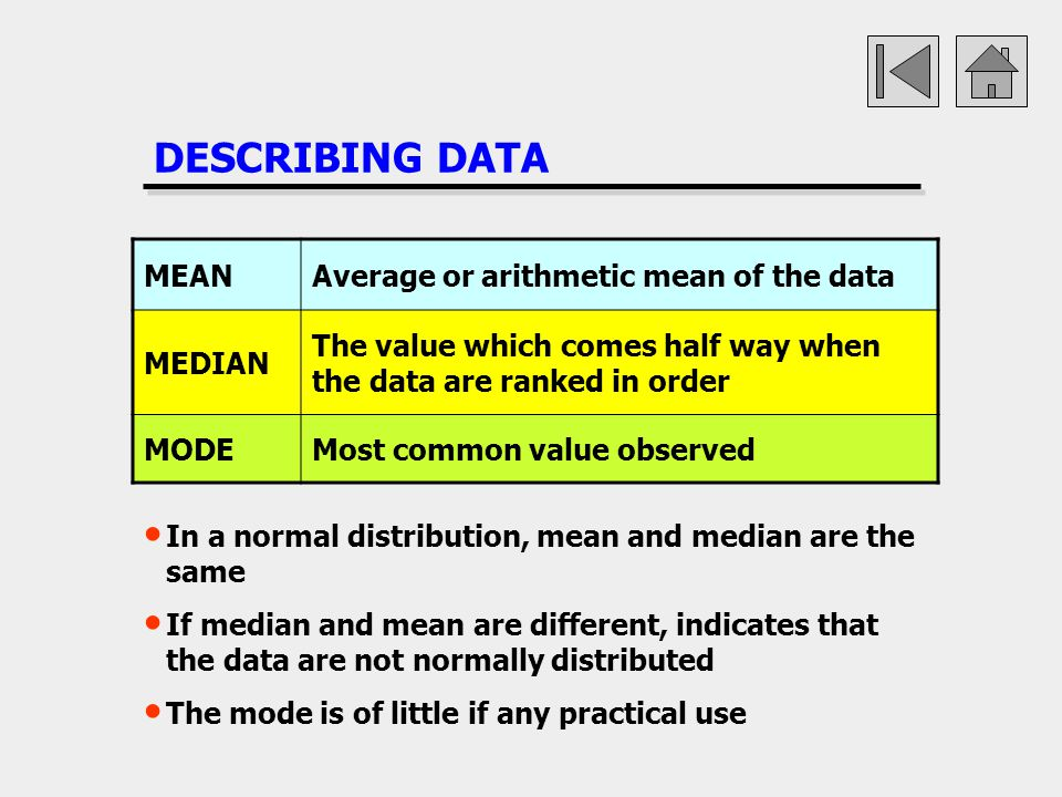 DESCRIBING DATA MEAN Average or arithmetic mean of the data MEDIAN