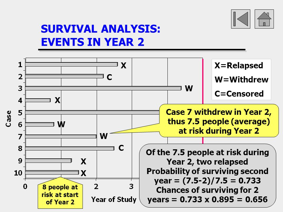 SURVIVAL ANALYSIS: EVENTS IN YEAR 2