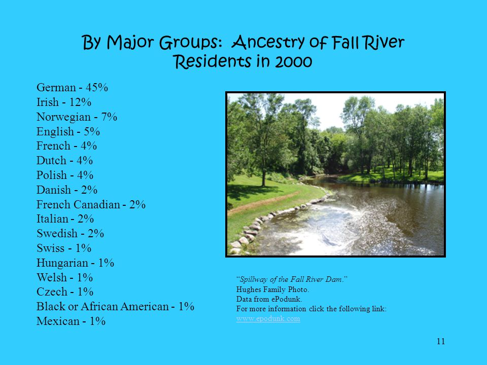 By Major Groups: Ancestry of Fall River Residents in 2000