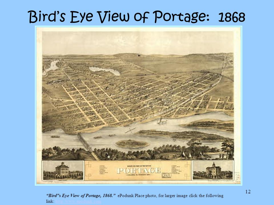 Bird's Eye View of Portage: 1868