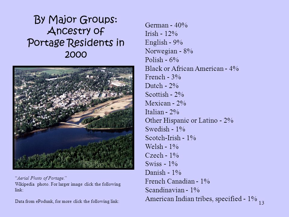 By Major Groups: Ancestry of Portage Residents in 2000