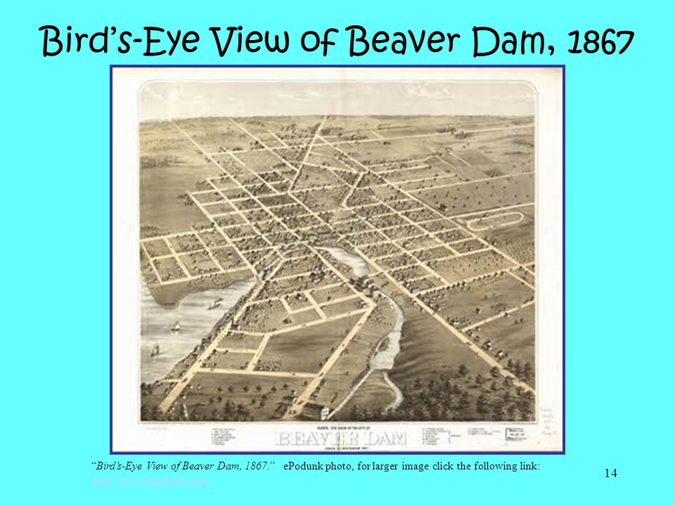Bird's-Eye View of Beaver Dam, 1867