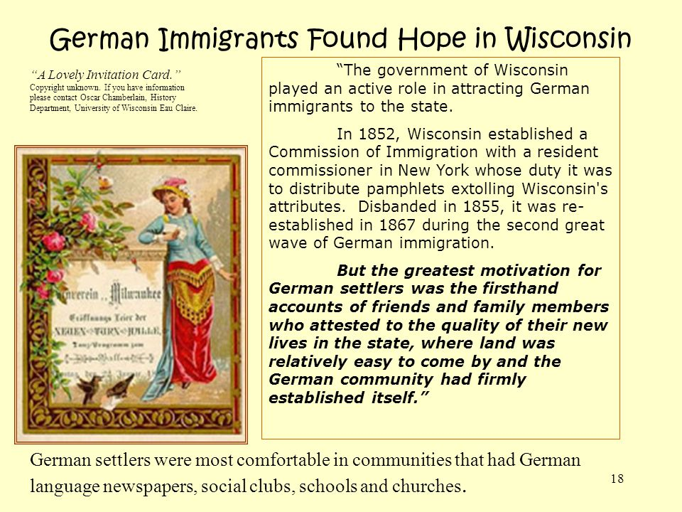 German Immigrants Found Hope in Wisconsin