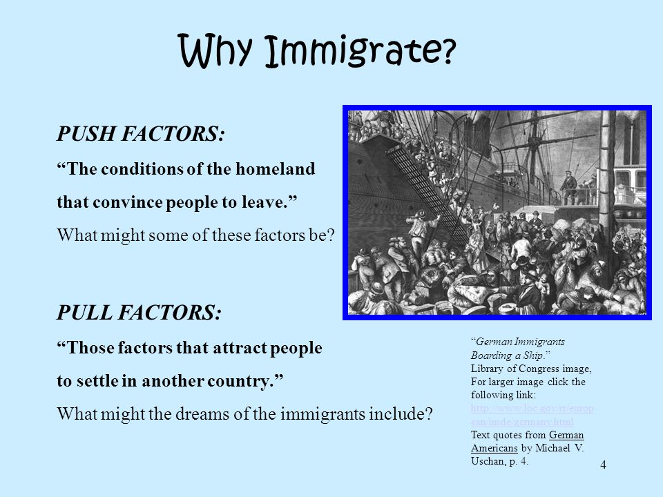 Why Immigrate PUSH FACTORS: PULL FACTORS: