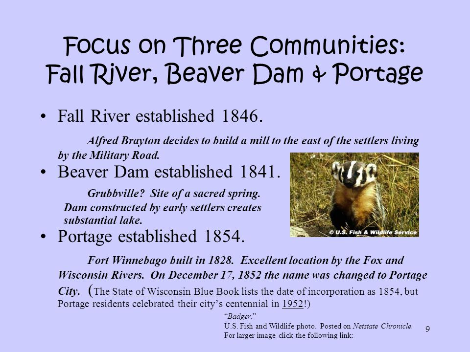 Focus on Three Communities: Fall River, Beaver Dam & Portage