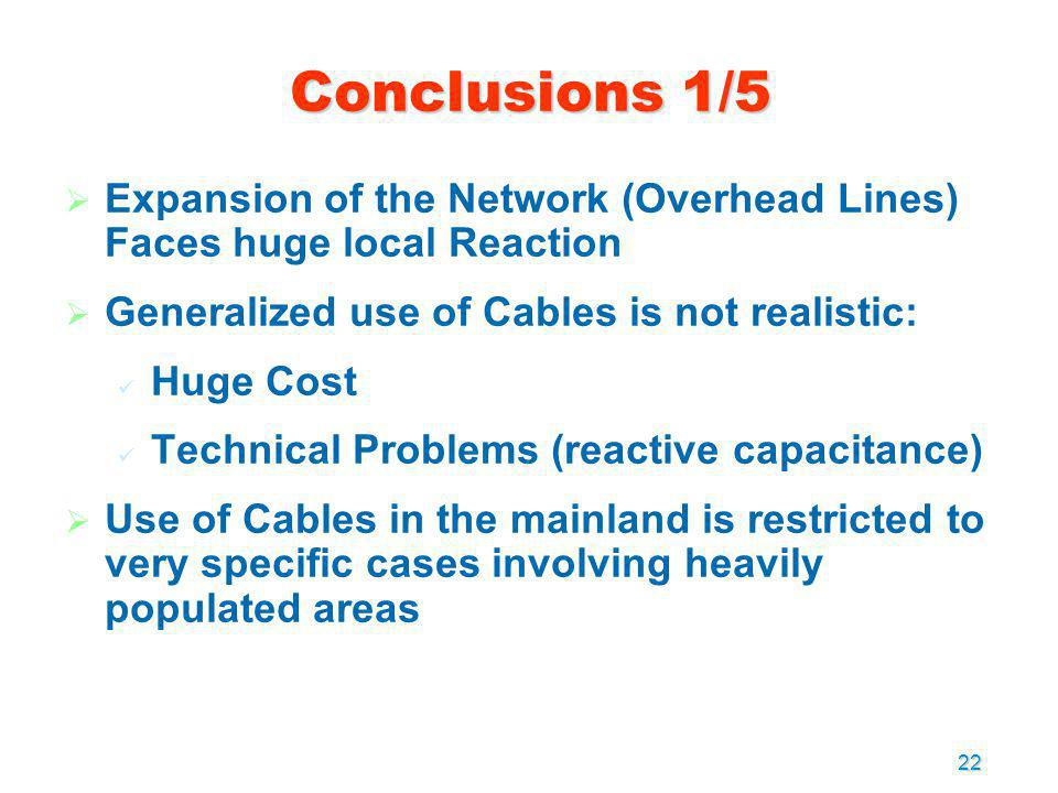 Conclusions 1/5 Expansion of the Network (Overhead Lines) Faces huge local Reaction. Generalized use of Cables is not realistic: