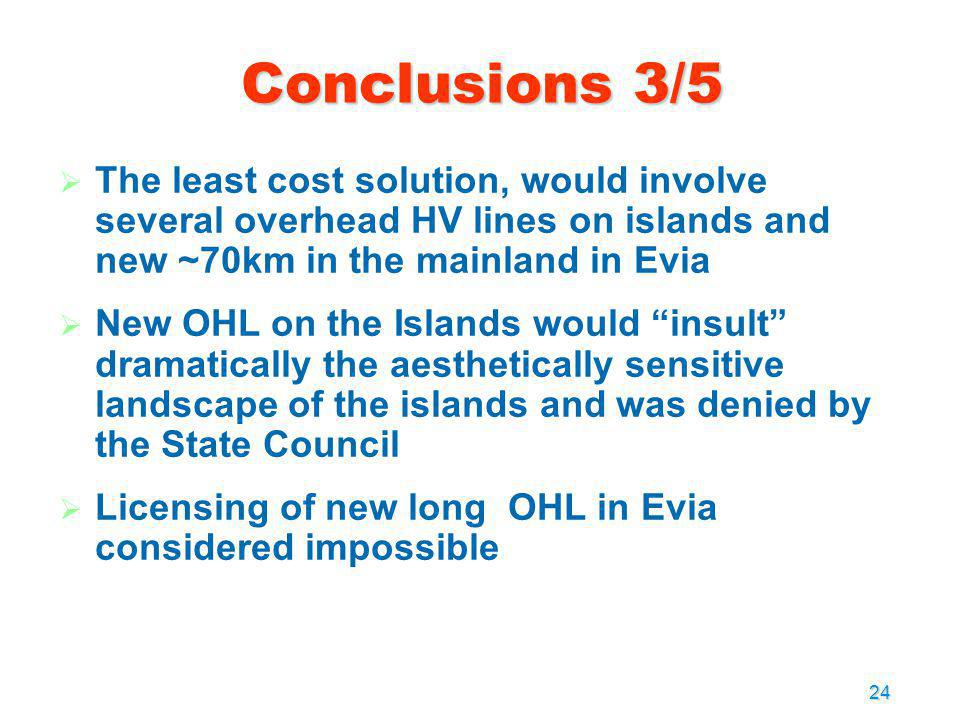 Conclusions 3/5 The least cost solution, would involve several overhead HV lines on islands and new ~70km in the mainland in Evia.