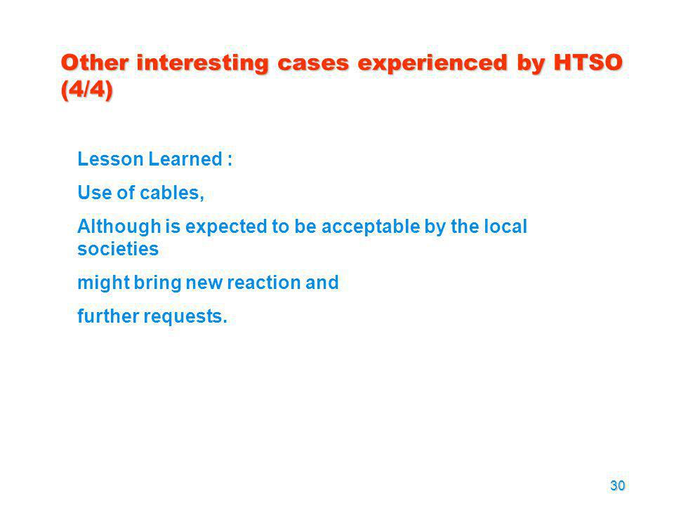 Other interesting cases experienced by HTSO (4/4)