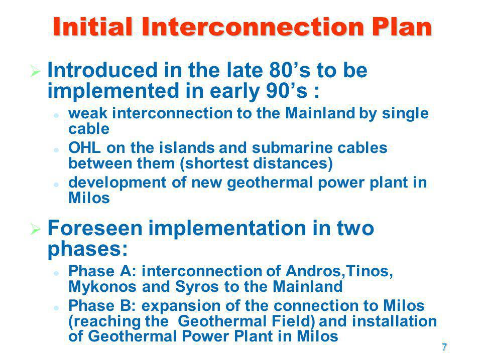 Initial Interconnection Plan