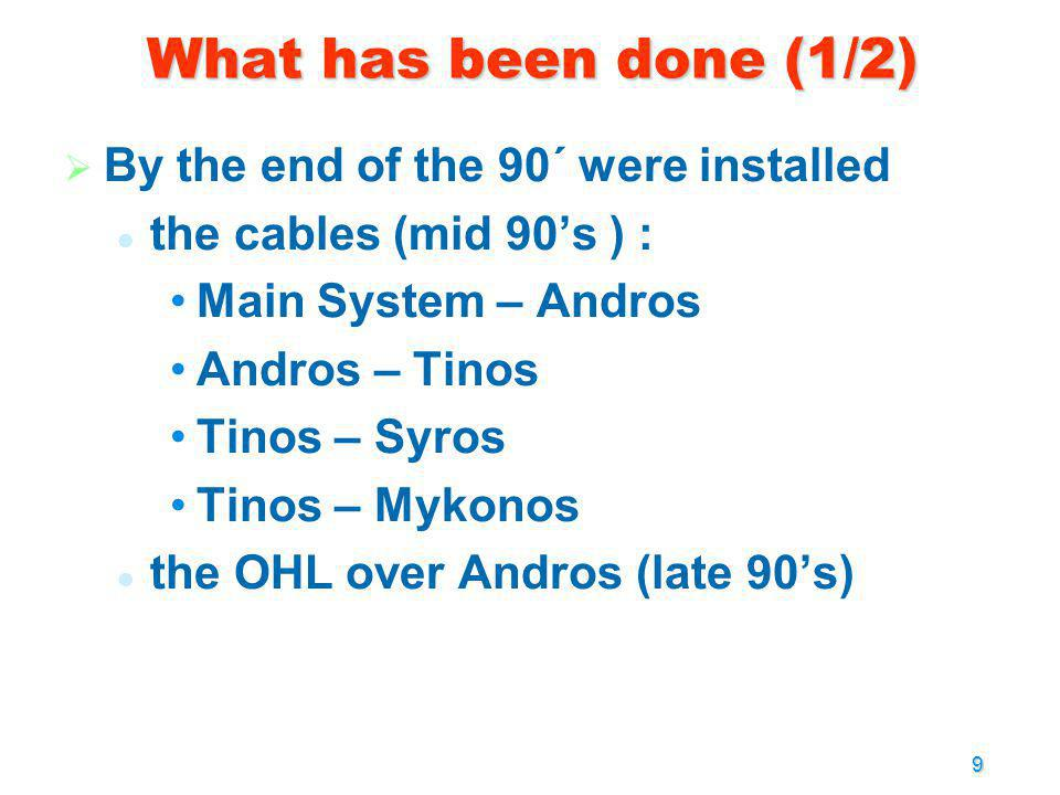 What has been done (1/2) By the end of the 90´ were installed