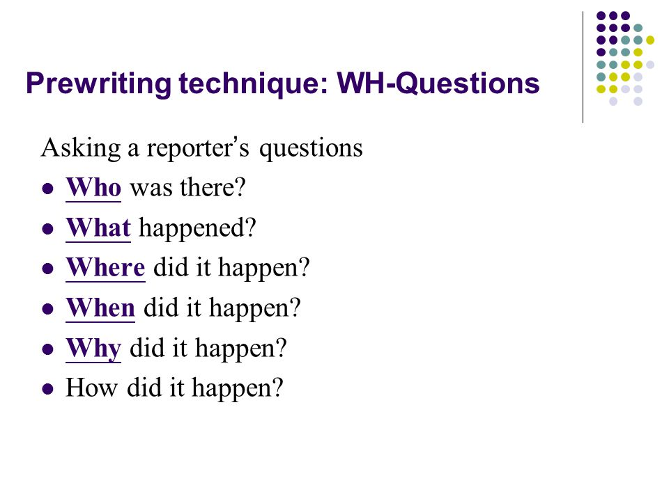 Prewriting technique: WH-Questions