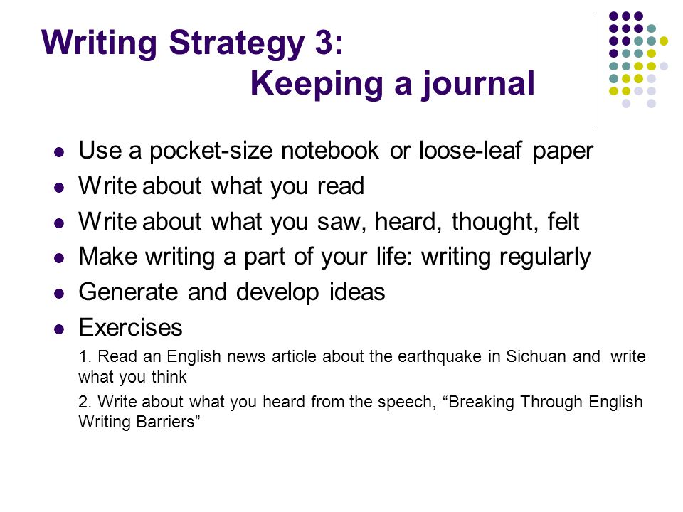 Writing Strategy 3: Keeping a journal