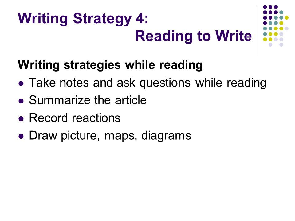 Writing Strategy 4: Reading to Write