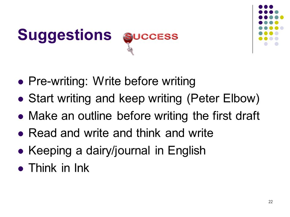 Suggestions Pre-writing: Write before writing