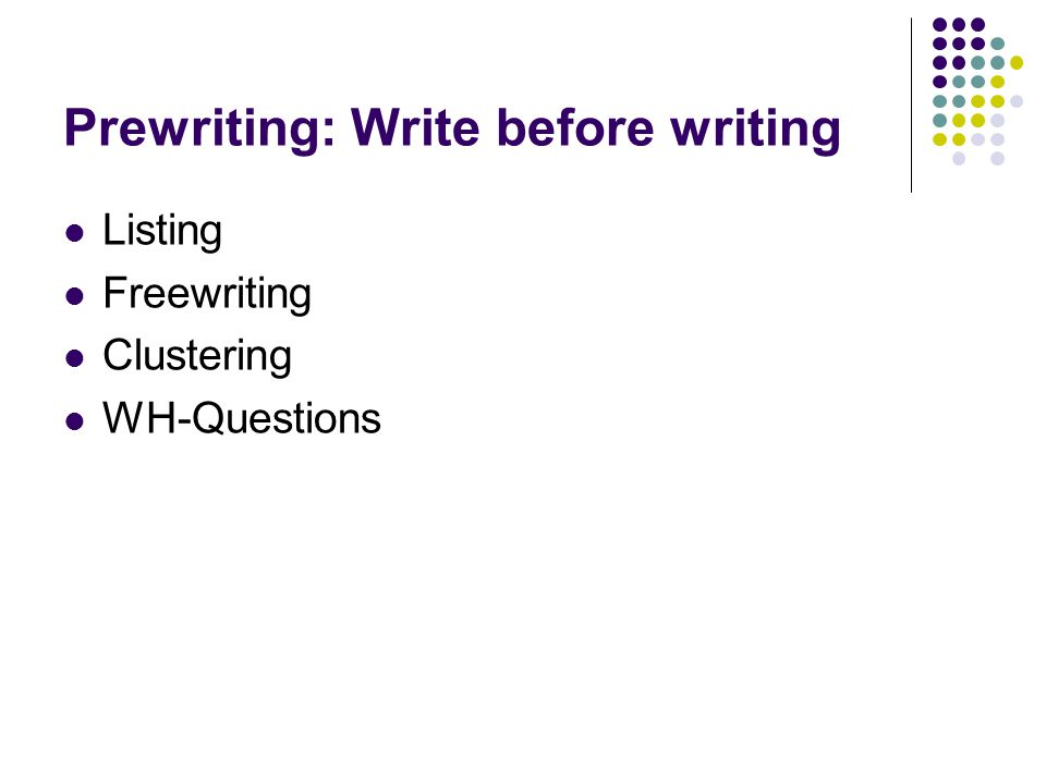 Prewriting: Write before writing