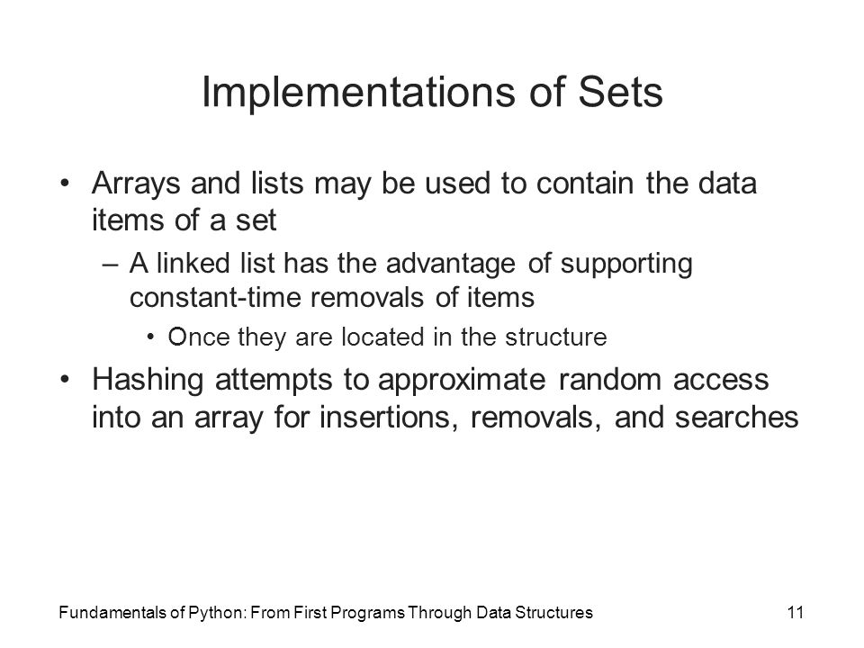 Implementations of Sets