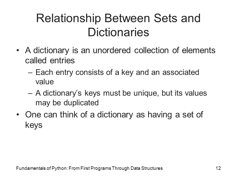 Relationship Between Sets and Dictionaries