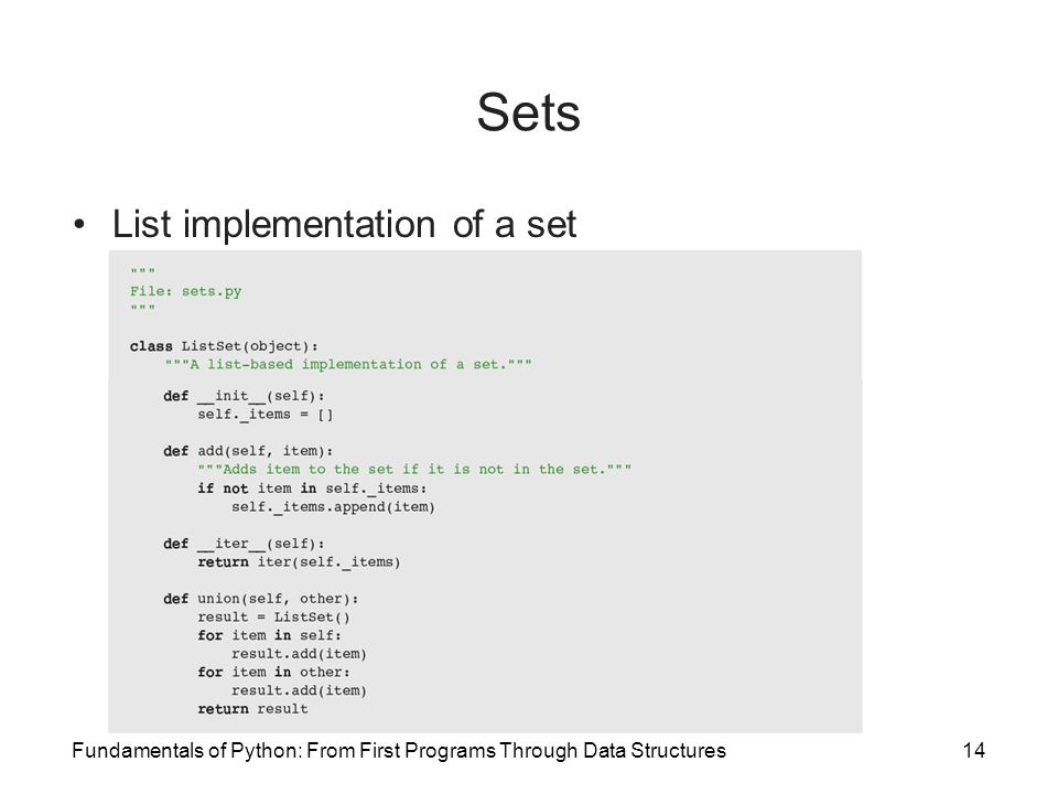 Sets List implementation of a set