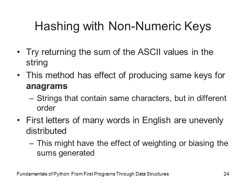 Hashing with Non-Numeric Keys