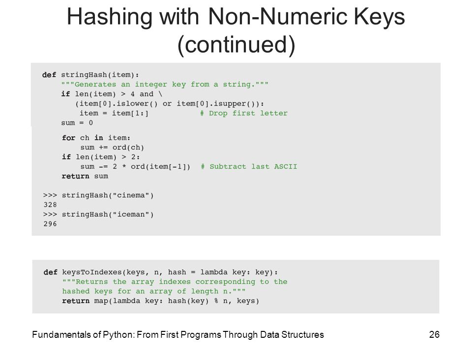 Hashing with Non-Numeric Keys (continued)