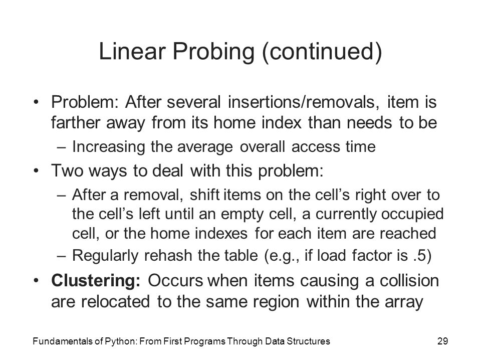 Linear Probing (continued)