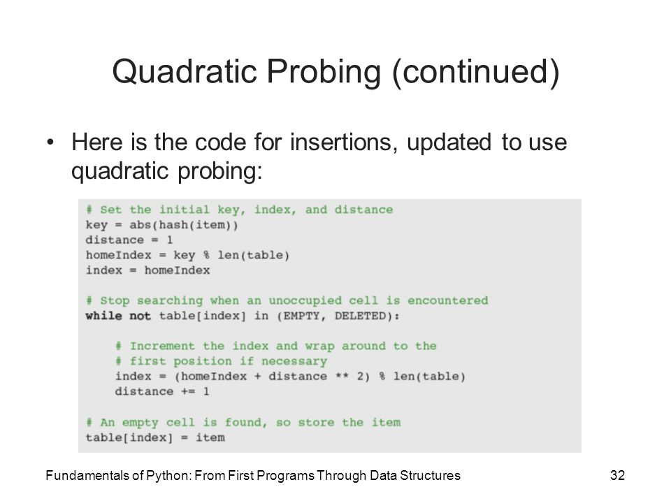 Quadratic Probing (continued)