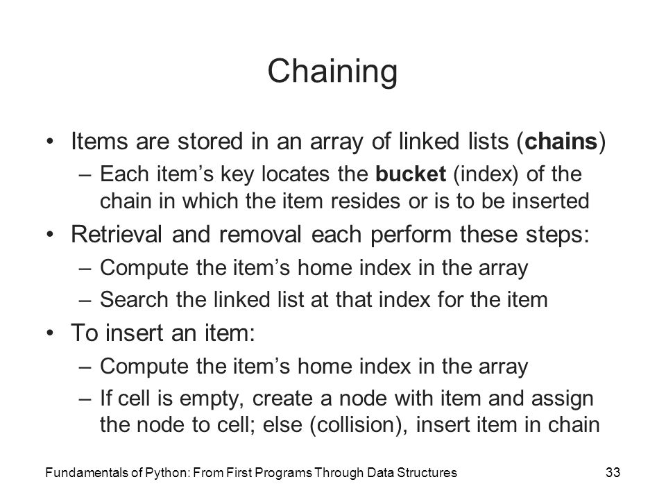 Chaining Items are stored in an array of linked lists (chains)