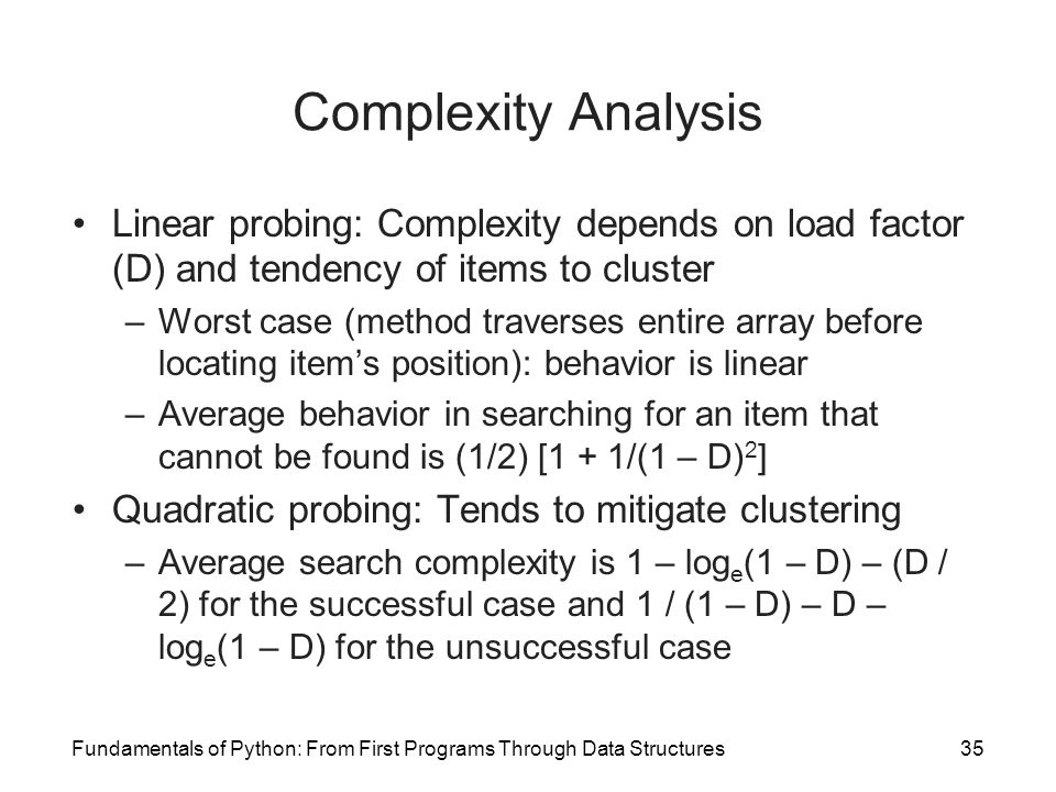 Complexity Analysis Linear probing: Complexity depends on load factor (D) and tendency of items to cluster.