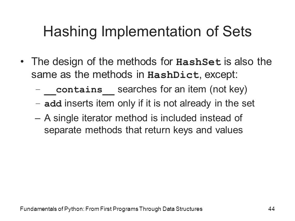 Hashing Implementation of Sets