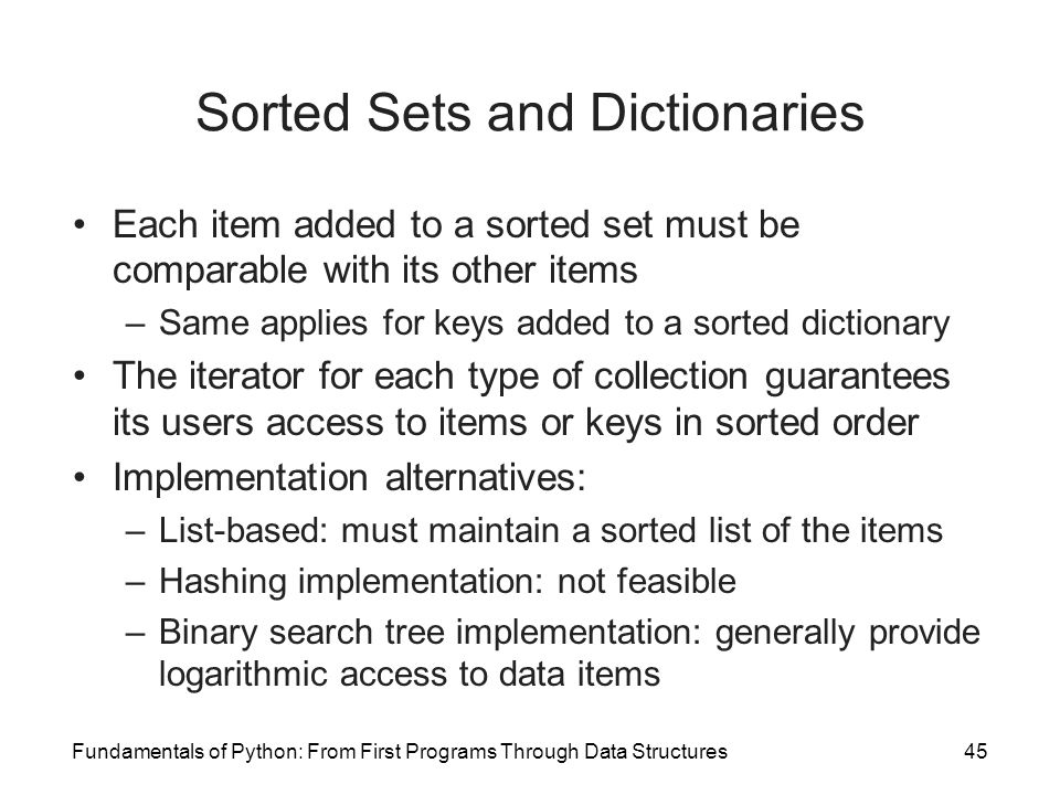 Sorted Sets and Dictionaries