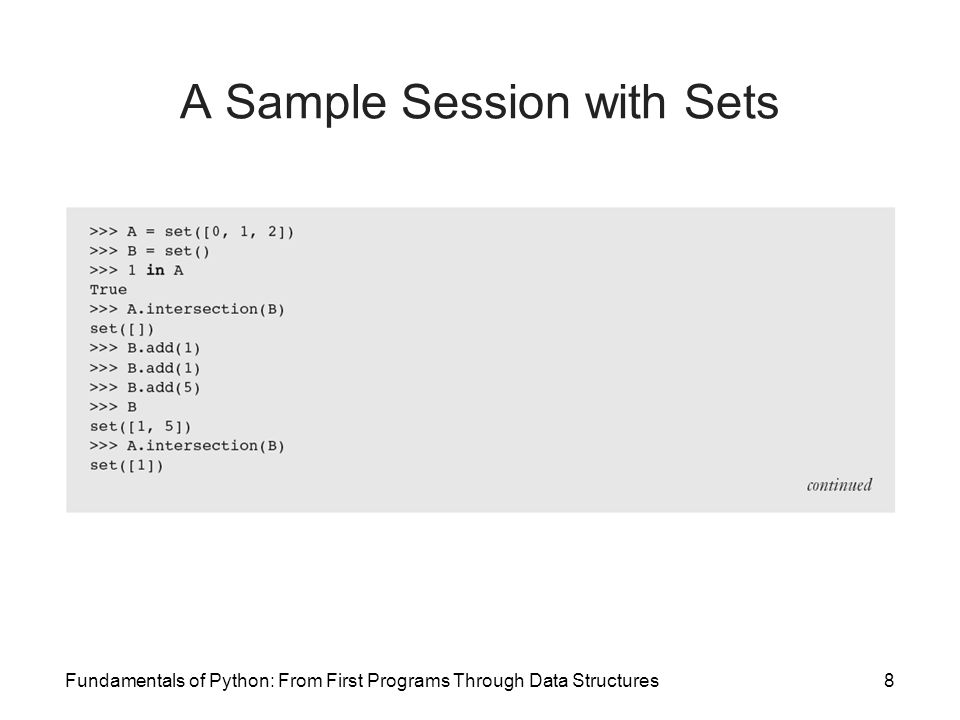 A Sample Session with Sets