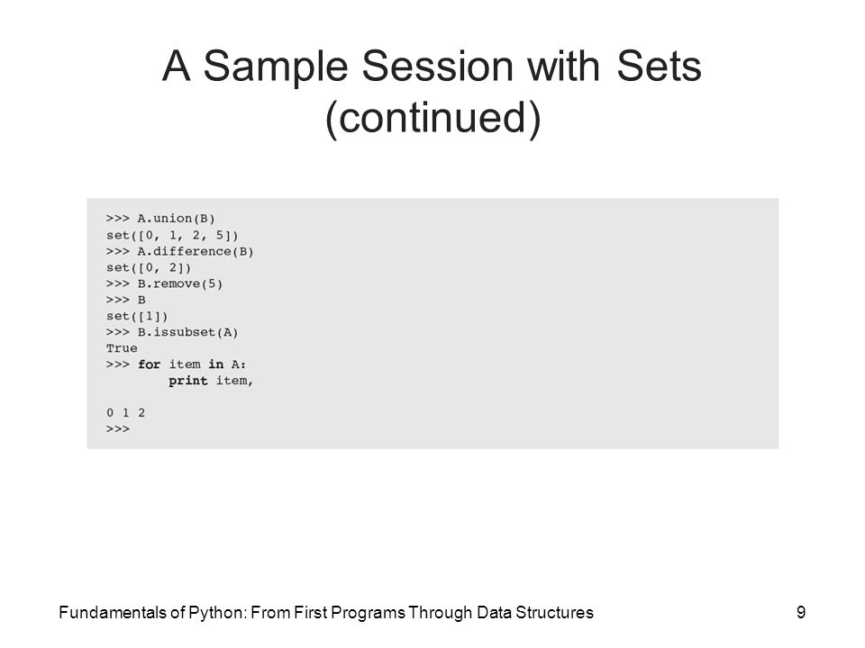 A Sample Session with Sets (continued)