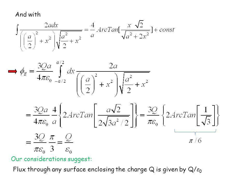 And with Our considerations suggest: Flux through any surface enclosing the charge Q is given by Q/0.
