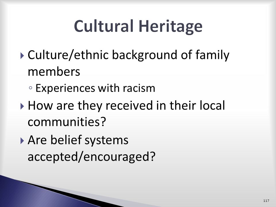 Cultural Heritage Culture/ethnic background of family members