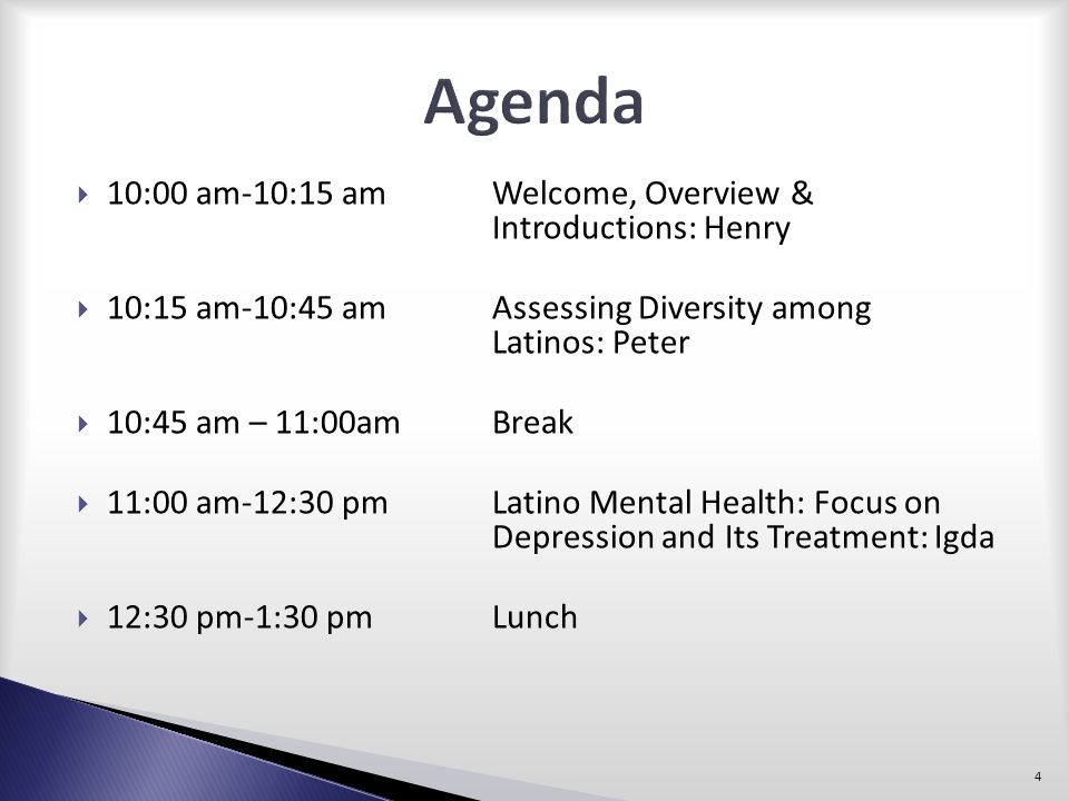 Agenda 10:00 am-10:15 am Welcome, Overview & Introductions: Henry