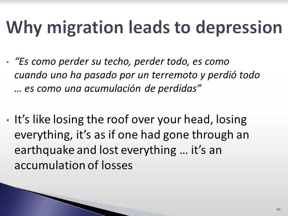 Why migration leads to depression