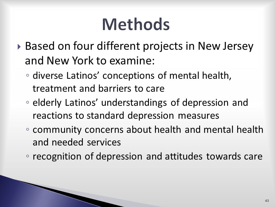 Methods Based on four different projects in New Jersey and New York to examine: