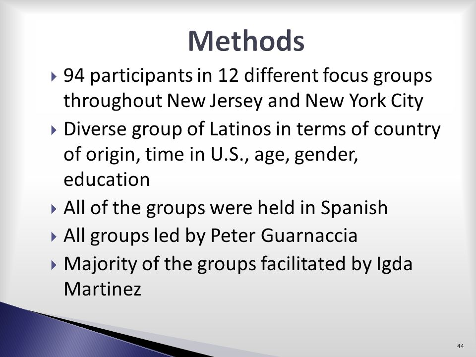 Methods 94 participants in 12 different focus groups throughout New Jersey and New York City.