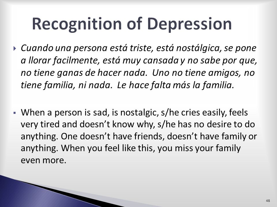 Recognition of Depression