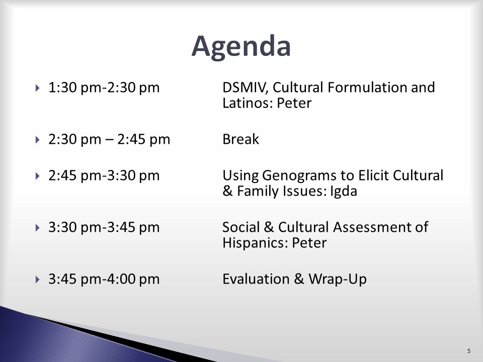 Agenda 1:30 pm-2:30 pm DSMIV, Cultural Formulation and Latinos: Peter