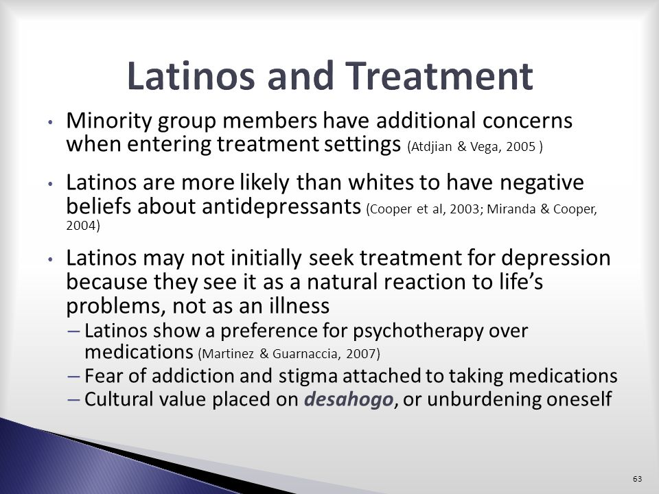 Latinos and Treatment Minority group members have additional concerns when entering treatment settings (Atdjian & Vega, 2005 )