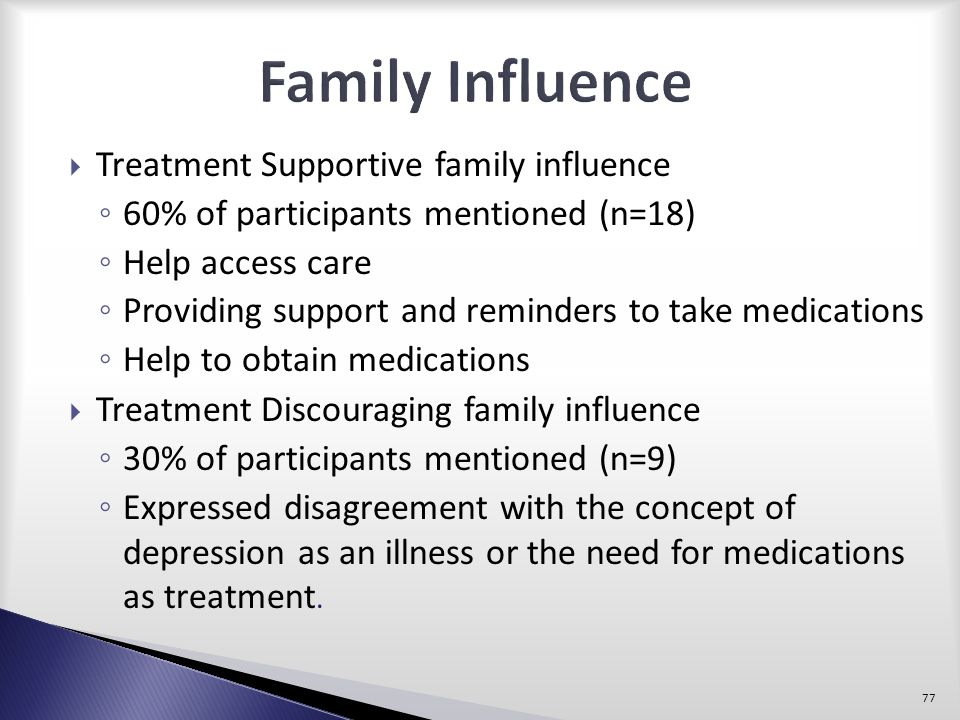 Family Influence Treatment Supportive family influence