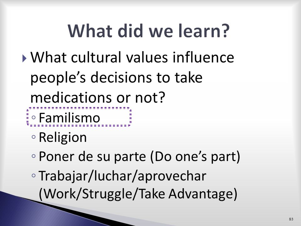What did we learn What cultural values influence people's decisions to take medications or not Familismo.
