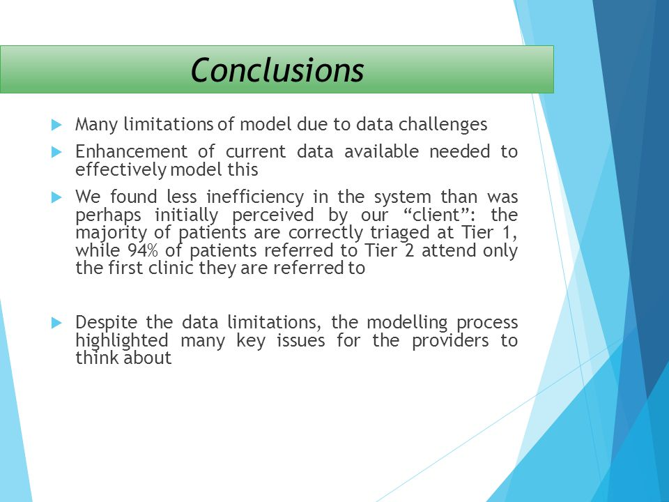 Conclusions Many limitations of model due to data challenges